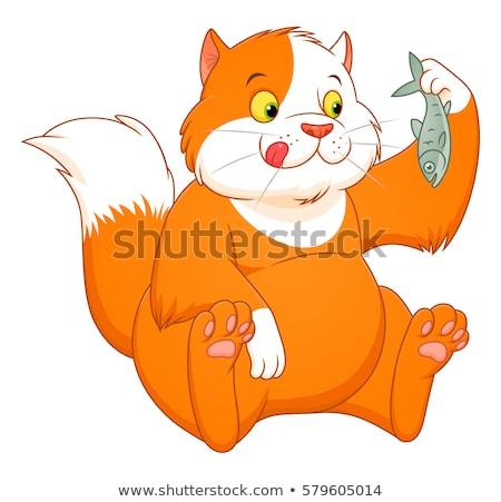 Kedi yemek balık çatal bıçak bacaklar Stok fotoğraf © ddvs71