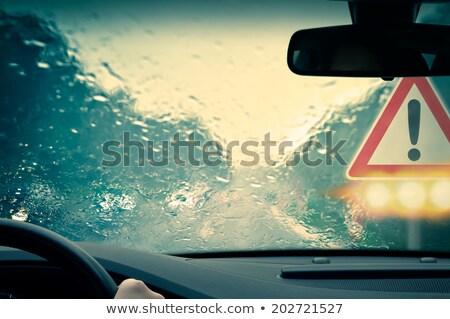 Ochtend regenachtig straat realistisch bokeh kan Stockfoto © tracer