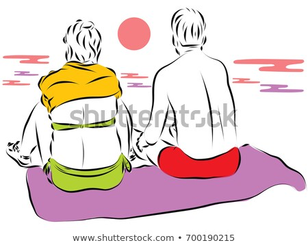 Young couple towels over shoulders in beach sand stock photo © Maridav