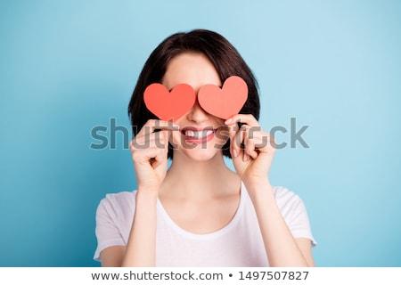 смешные · женщину · формы · сердца · синий - Сток-фото © iko