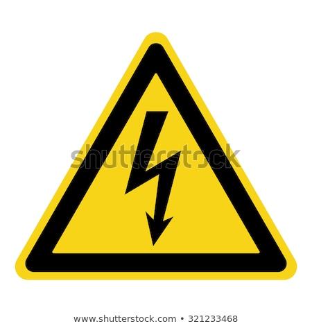 высокое напряжение знак белый вектора символ оранжевый Сток-фото © blumer1979