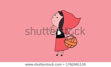 Dziewczynka koszyka strony czerwony hat Zdjęcia stock © maros_b