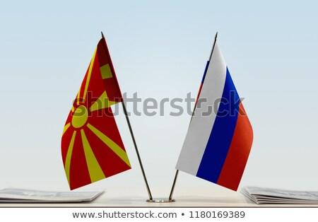 Россия Македонии миниатюрный флагами изолированный белый Сток-фото © tashatuvango
