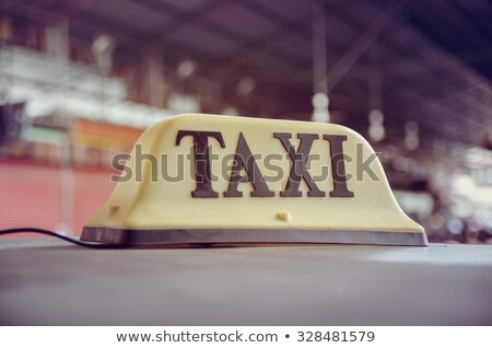 Foto d'archivio: Taxi Cab Car Roof Sign Double Exposure