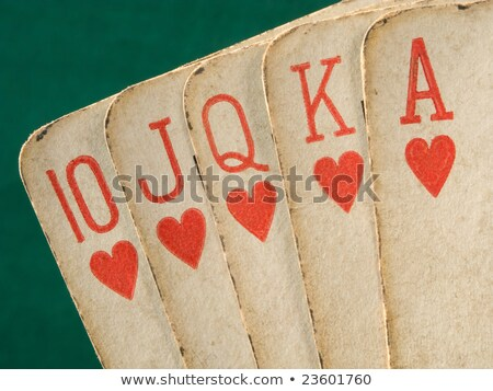 royal flush hearts suit old vintage cards close up stock photo © latent