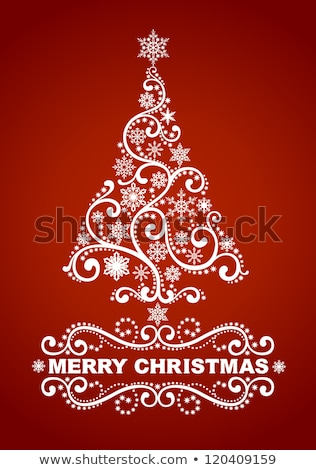 snowflakes and christmas tree illustration eps 8 stock photo © beholdereye