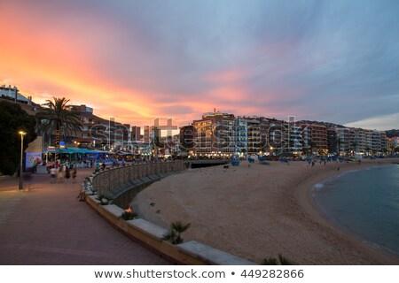Plaj gece su ev şehir Stok fotoğraf © miracky