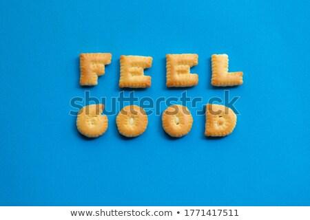 Brief woord positief alfabet biscuit collage Stockfoto © vinnstock