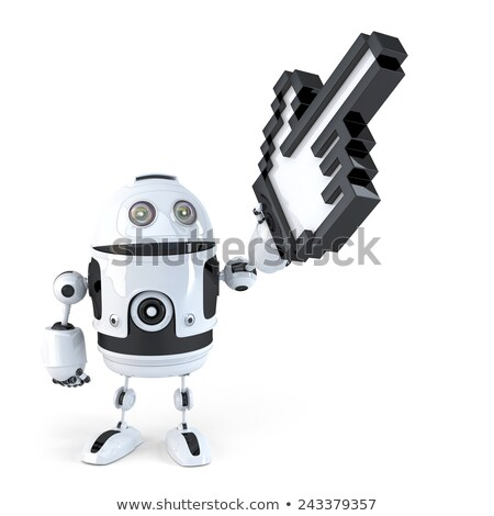 Robot pointing with huge cursor. Isolated. Contains clipping path Stock photo © Kirill_M