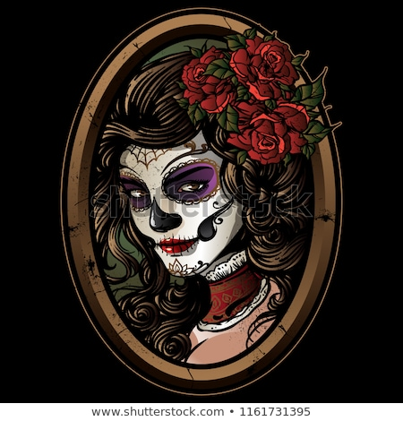 vector illustration of sugar skull girls stock photo © elisanth