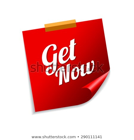 get now red sticky notes vector icon design stock photo © rizwanali3d