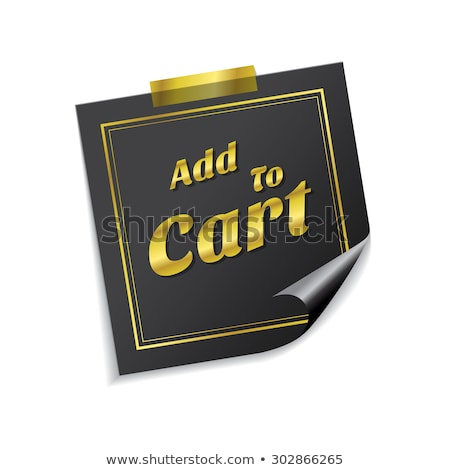 Add To Cart Golden Sticky Notes Vector Icon Design Stock photo © rizwanali3d