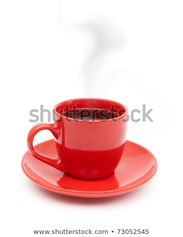 red cup of coffee on plate and spoon isolated on white stock photo © tetkoren