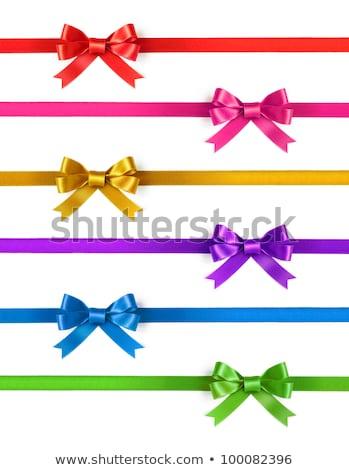 Zielone satyna dar łuk wstążka odizolowany Zdjęcia stock © teerawit