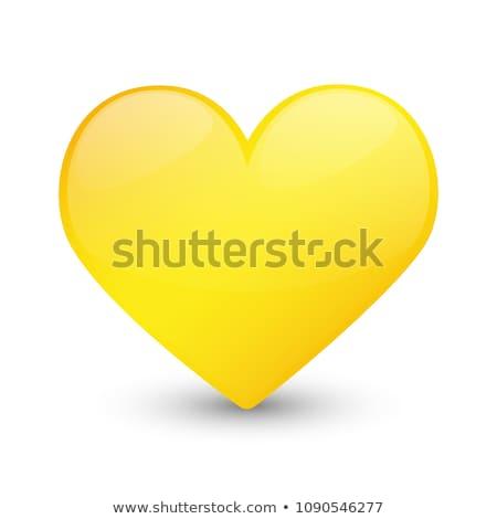 сердце желтый вектора икона дизайна любви Сток-фото © rizwanali3d