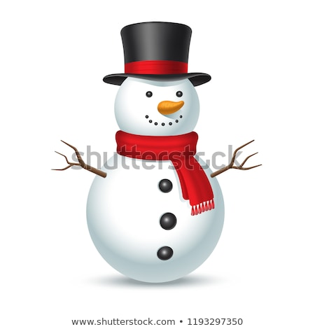 Sneeuwpop traditioneel sjaal hoed landschap achtergrond Stockfoto © x7vector