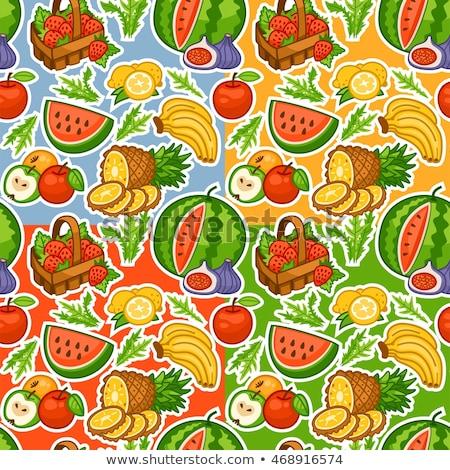 seamless pattern set red strawberries stock photo © frescomovie