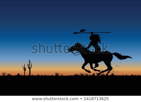 ネイティブ アメリカ インド 馬に乗って 日没 実例 ストックフォト © adrenalina