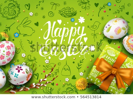 Realistic illustration by Easter egg with green bow - vector Stock photo © smeagorl