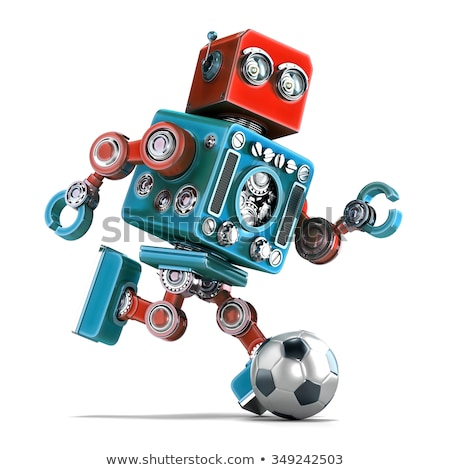 3d retro robot playing soccer isolated contains clipping path stock photo © kirill_m