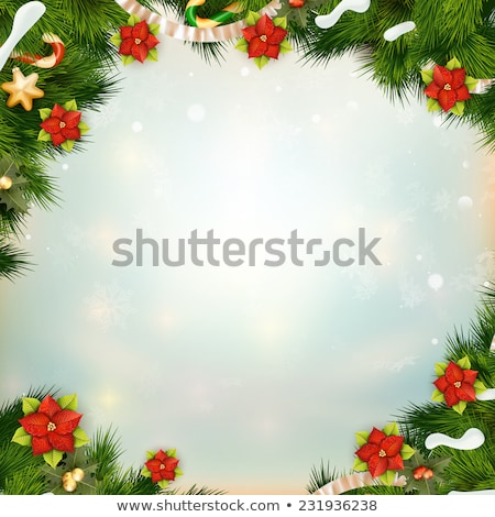 Shiny green pine with flower of poinsettia. EPS 10 Stock photo © beholdereye