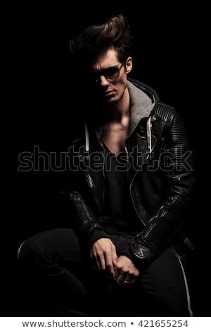 Modell fekete pózol ülő zsámoly pihen Stock fotó © feedough