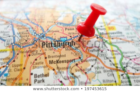 Foto stock: Cidade · pin · mapa · estradas · trio · vetor