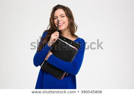 sorridente · bastante · mulher · jovem · documentos - foto stock © deandrobot