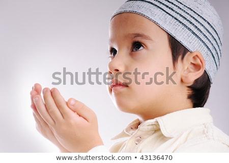 Muslim little cute kid with hat, isolated Stock photo © zurijeta