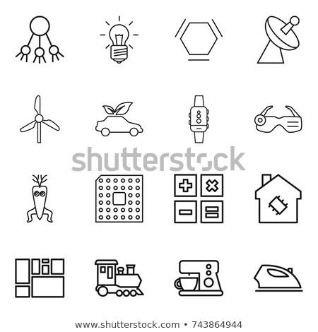 калькулятор · дома · отображения · линия · икона · веб - Сток-фото © rastudio