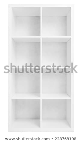 пусто Полки книжный шкаф библиотека изолированный белый Сток-фото © cherezoff