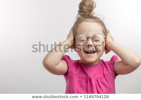 Menina orelhas fechado silêncio estilo retro Foto stock © studiostoks