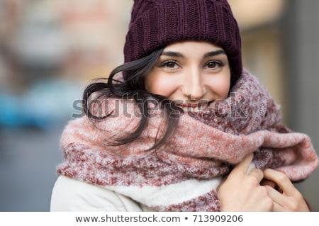 Genç mutlu kadın yün kapak eşarp Stok fotoğraf © andreasberheide