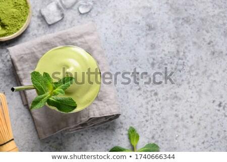 Jég tej zöld tea tejszínhab stock fotó Stock fotó © nalinratphi