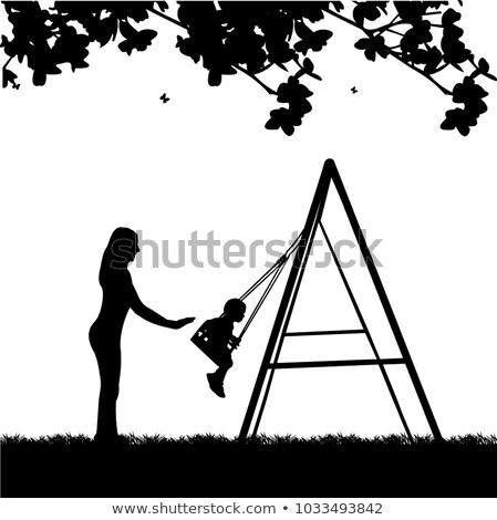 ragazzo · giocare · swing · illustrazione · cielo · sfondo - foto d'archivio © artisticco