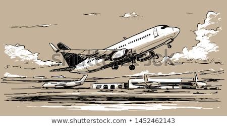 plane taking off sketch icon stock photo © rastudio