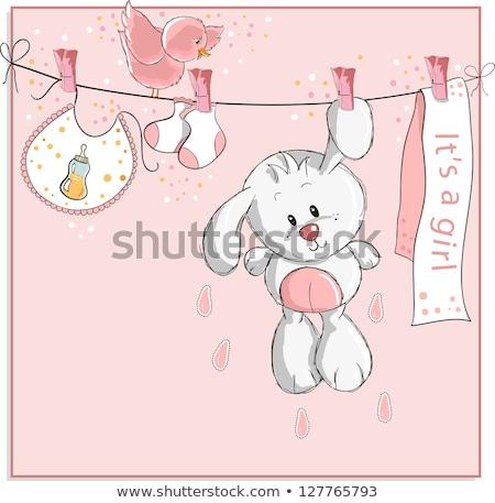 Gyönyörű kislány zuhany kártya aranyos kislány Stock fotó © balasoiu