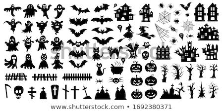 Stock fotó: Halloween · fekete · ikon · szett · elemek · ikonok · fa