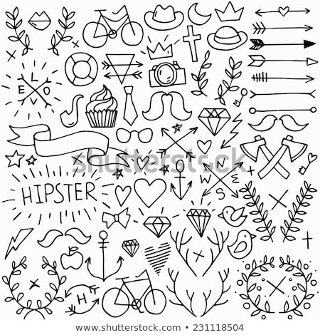 hand drawn doodle set of vintage and modern keys stock photo © adrian_n