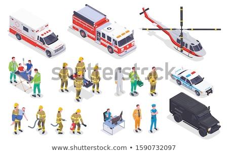 Isometric firefighter truck Stock photo © ambualang