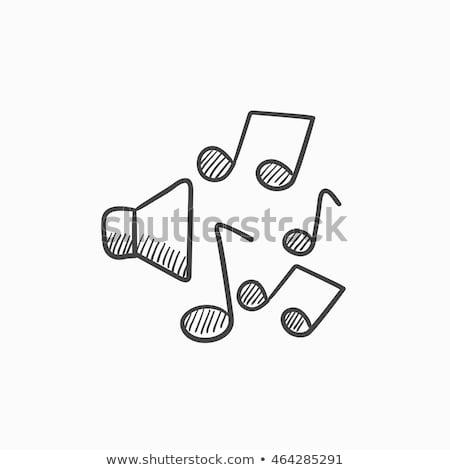 Loudspeakers with music notes sketch icon. Stock photo © RAStudio