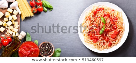 raw spaghetti, ingredient and tomato sauce Stock photo © M-studio