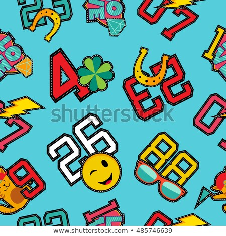 Smiley face retro patch icon seamless pattern Stock photo © cienpies