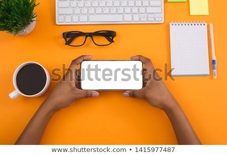 Woman using smart phone in horizontal landscape orientation Stock photo © stevanovicigor
