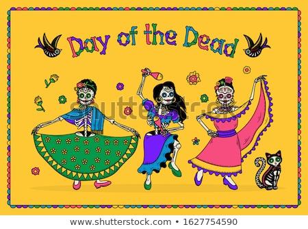 Dia de Muertos Day of Dead. Black Skull in Mexican Hat Stock photo © orensila