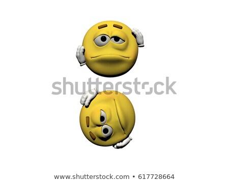 emoticon · doente · 3d · render · isolado · branco · cara - foto stock © mariephoto