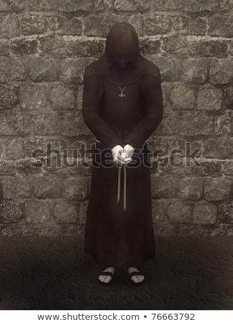 Hristiyan keşiş kafa meditasyon ahşap çapraz Stok fotoğraf © ankarb