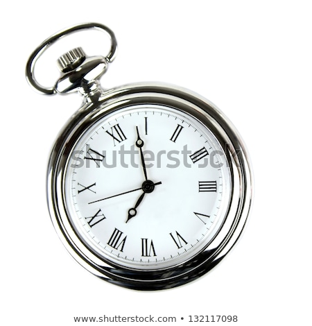 Foto stock: Prata · relógio · de · bolso · cadeia · isolado · cinza · mãos