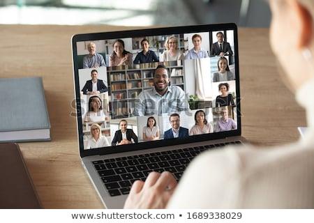 dizüstü · bilgisayar · gece · kadın · oturma · odası · mutlu · teknoloji - stok fotoğraf © -baks-