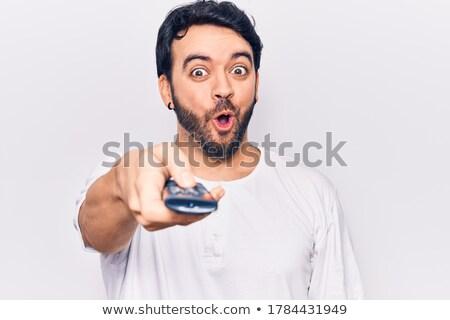 Portré férfi távoli mosolyog néz kamera Stock fotó © deandrobot